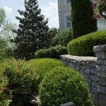 Landscaping by house, stonewall detail
