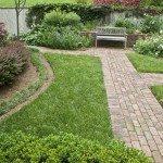 Close up of garden & brick walkways
