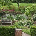 Garden with brick walkway