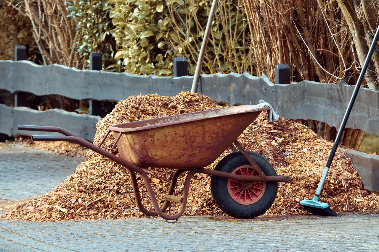 Wheelbarrow and Mulch - Fall Mulching