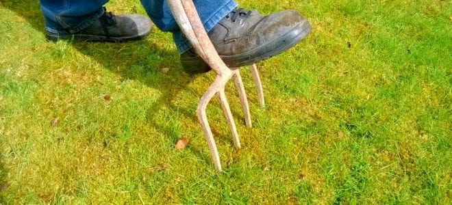 Man stepping on a garden pitch fork